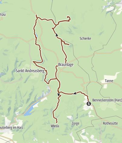 Karte / Hohegeiß - Wurmberg - Brocken - Wieda