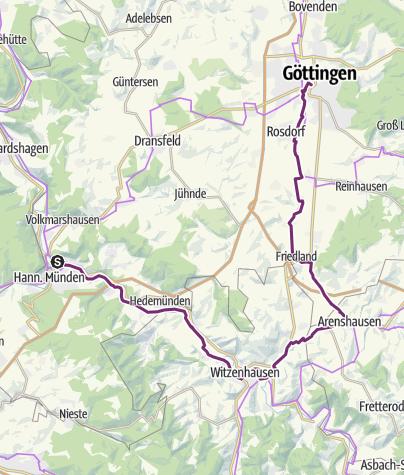 Karte / RS: Hann. Münden - Göttingen