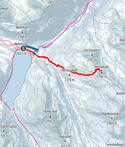 Kaart / Silvretta Henne Kopf von der Bielerhöhe aus