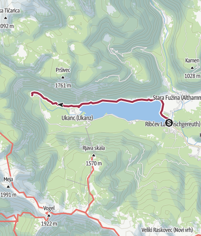 Karte / nördlichen Ufer des  Bohinj Sees