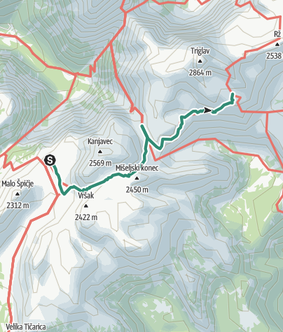 Map / Zasavska koča na Prehodavcih (2071m) - Dom Planika (2401 m)