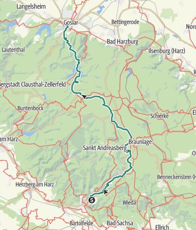 Karte / 3 Tages Tour durch den Harz