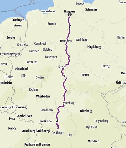 Karte / KT15: Hamburg - Stuttgart