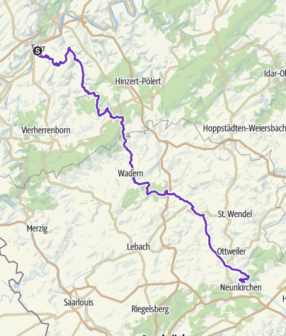 Map / 100 km Route Trier - NK