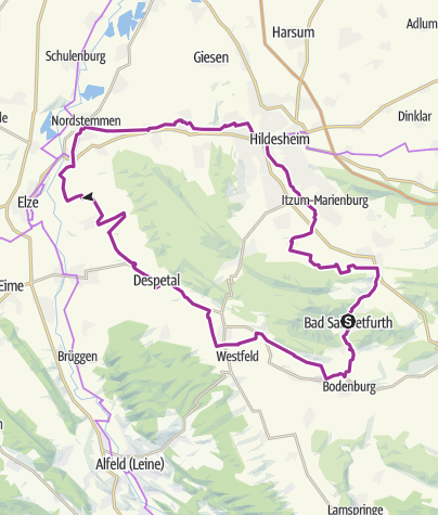 Karte / Radtour Hildesheimer Wald