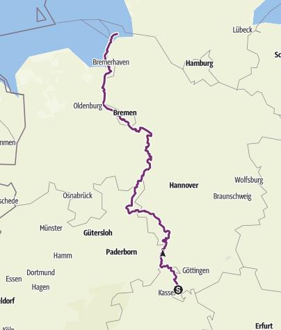 Karte / Weser-Radweg 2015