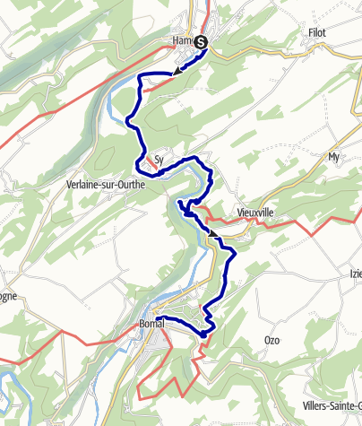 Kaart / Vanuit Hamoir, via Sy en Domaine de Palogne naar Bomal sur Ourthe