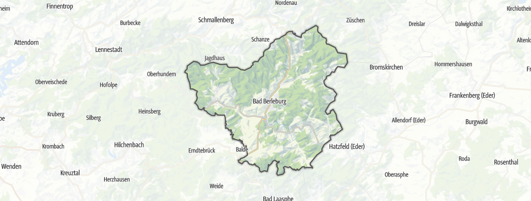 Map / Road cycling routes in Bad Berleburg