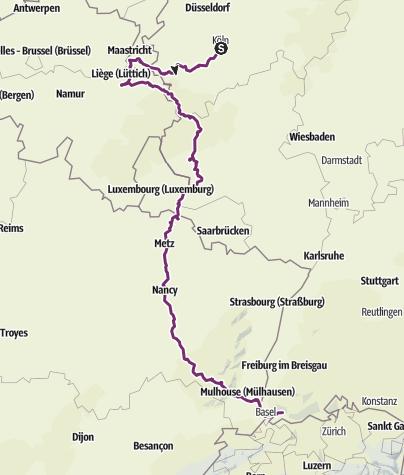Carte / Radtour Köln-Schopfheim