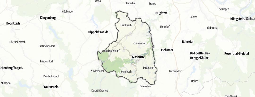 Mapa / Pěší turistika v oblasti Glashütte