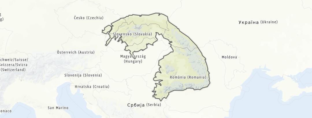 Map / Bike rides in the Carpathians region