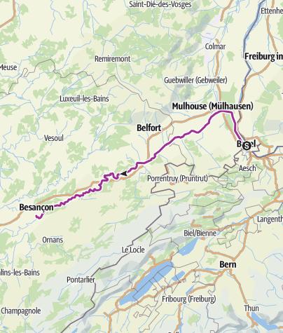 Carte / Doubs -Canal-Tour von Weil nach Dannemarie / Wolfersweiler