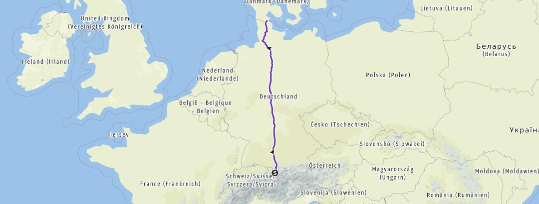 Karte / Laufjunkies, Planung Deutschlandlauf Süd-Nord