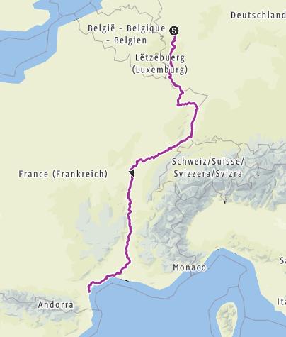 Carte / Von der Erft ans Mittelmeer (Planung)