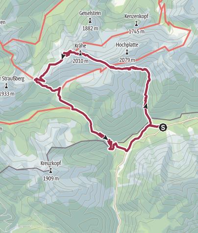 Karte / Ammerwaldalpe Fensterl Krähe Niederstraußbergsattel