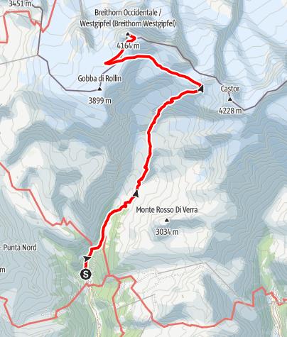 Kaart / Breithorn Westgipfel