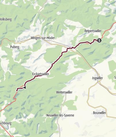 Carte / Traversée du Massif des Vosges - Etape 04 - Lichtenberg - La Petite Pierre