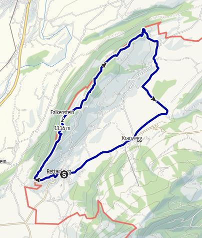 Kaart / Rundweg Rottachberg über Falkenstein und Ruine Vorderburg