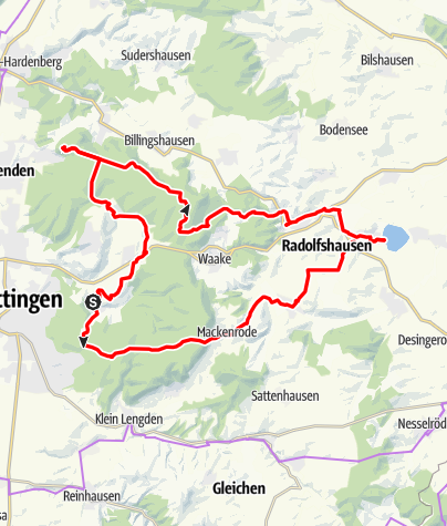 Karte / Von Herberhausen zum Seeburger See und über die Plesse zurück