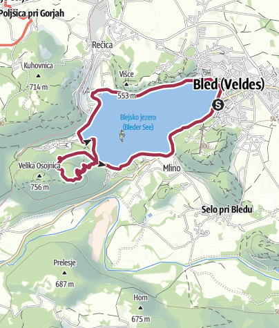 Zemljevid / Bled - Ojstrica - Mala Osojnica