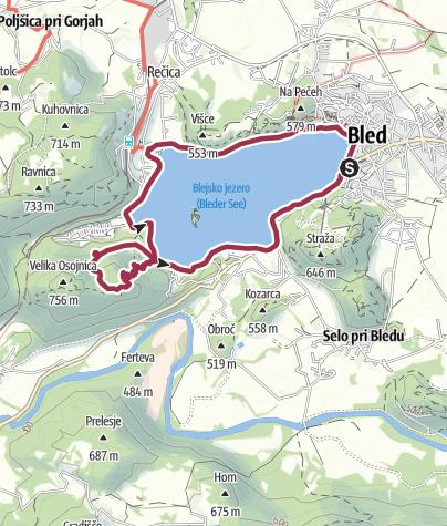 Map / Bled - Ojstrica - Mala Osojnica