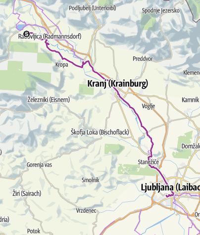Map / 1. Etappe Bled - Ljubiljana
