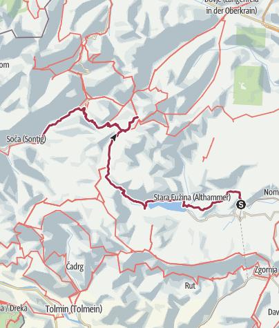 Map / Alternative1: Bitnje - Ukanc - koca na dolicu - Soca