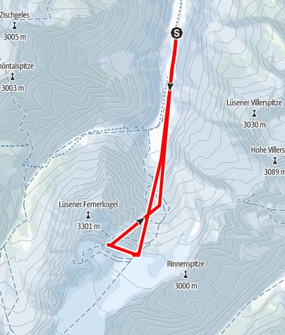 Karte / Lüsener Fernerkogel 3298m