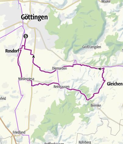Karte / Von Göttingen an der Leine am Wendebachstausee vorbei und um die Gleichen zurück