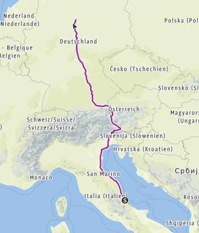 Karte / Sommertour 2018 Italien - Österreich - Deutschland