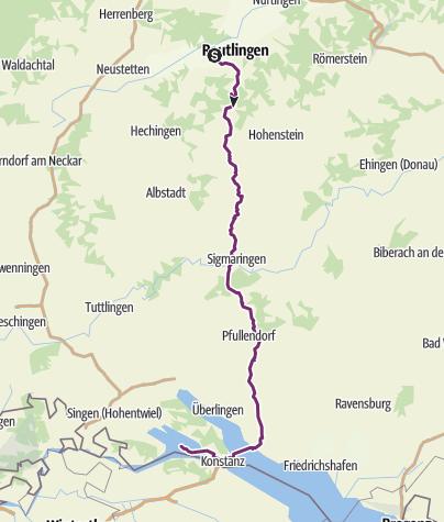 Karte / Radweg Reutlingen - Konstanz