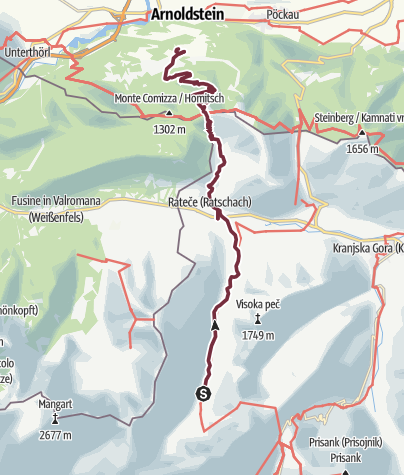 Map / Via Alpina Slowenien 12.Etappe: Dom v Tamarju - Seltschach Arnoldstein