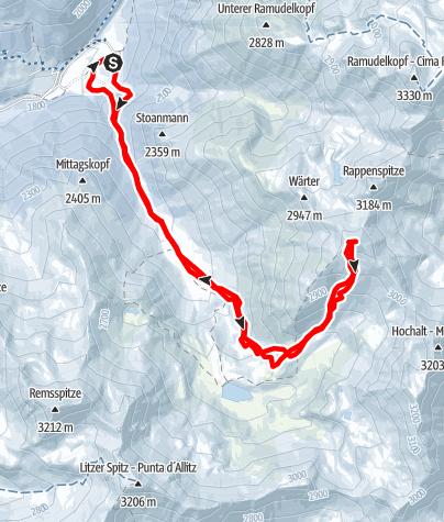 Kaart / Upiakopf (3175m) vom Matscher Tal (Glieshof)