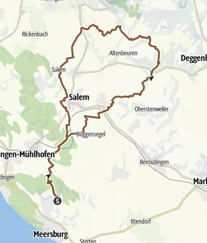 Karte / Daisendorf, Vesperstube Waldeck Kaltbächle, Beuren und zurück