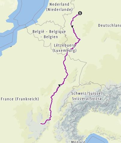 Carte / Fahrradurlaub Münster nach Le Puy vom 6.7. bis 28.07.2019