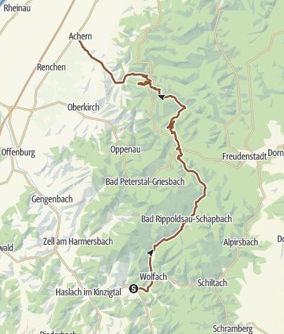 Karte / Hausach-Wolfach-Ruhestein-Seebach-Achern