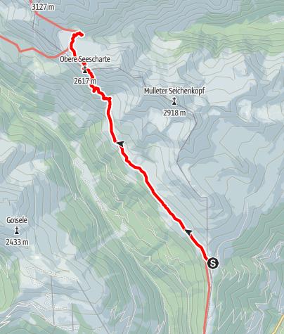 Kaart / Wiener Höhenweg - Etappe 2: Winklerner Hütte - Obere Seescharte - Wangenitzseehütte
