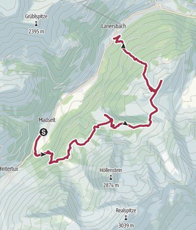 Karte / Über Tulferalm, Grieralm und Höllensteinhütte auf das Tettensjoch.