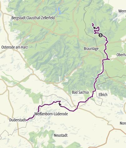 Karte / Tag 1 Schierke- -Brocken - Duderstadt/2