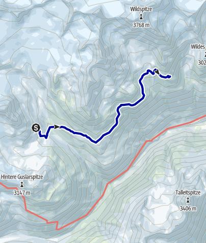 Kaart / Venter Runde im UZS, Etappe 5: Vernagthütte - Breslauer Hütte (Seufertweg)