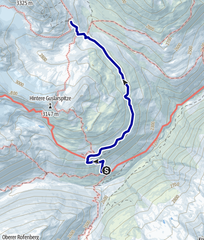 Kaart / Venter Runde im UZS, Variante Etappe 3/4: Hochjochhospiz - Vernagthütte