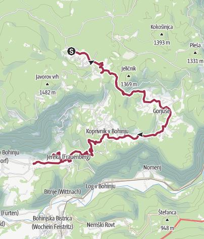 Zemljevid / Juliana Trail - Day 2 - Goreljek > Bohinjska Češnjica