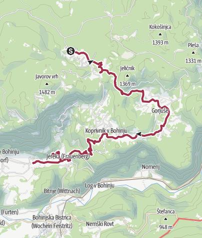 Map / Juliana Trail - Day 2 - Goreljek > Bohinjska Češnjica