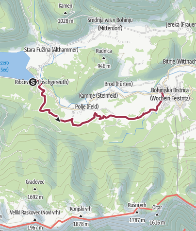 Karte / Juliana Trail - Day 4 - Ribčev Laz > Bohinjska Bistrica