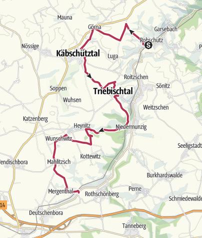 Karte / Auf den Spuren des Bio-Landbaus: Von Robschütz nach Mahlitzsch