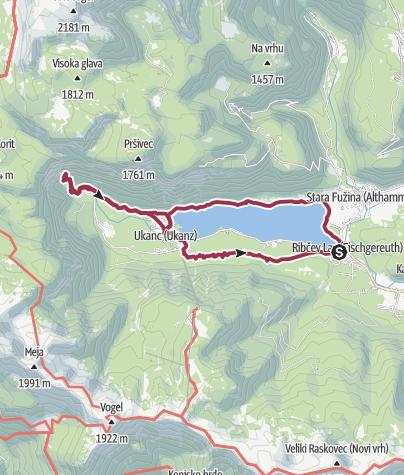 Karte / Bohinjsko Jezero Umrundung und Wasserfall Savica