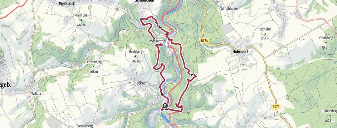 Karte / Tourtester gesucht: Scharfenstein- Affenstein- Reinhardtshöhe-Wilischtal- Teufelsnase- Scharfentseiner Kanzel-Hoher Schuss- Scharfenstein