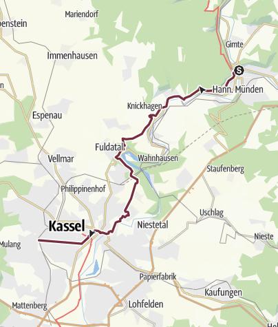 Karte / Hann. Münden nach Kassel [108 Berlin Nizza +]