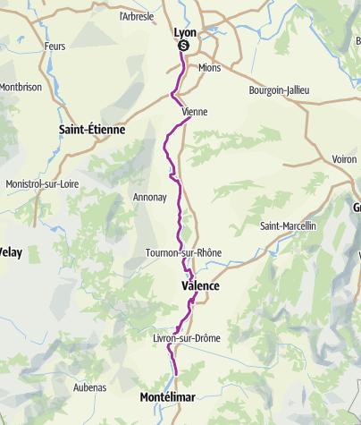 Carte / Day 1 Lyon to Montelimar Les Tourrettes