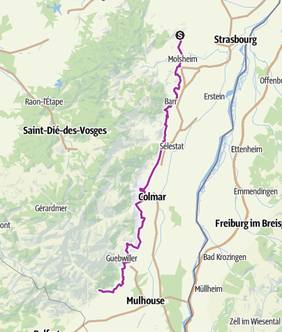 Carte / Alsace cycle route